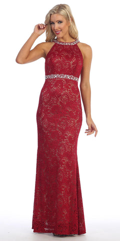 Halter Jeweled Neck and Waist Fit and Flare Lace Prom Gown Wine