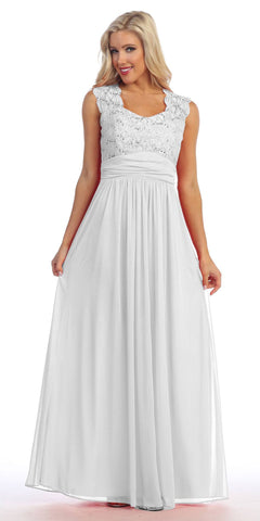 Ivory Lace Bodice A-Line Long Semi Formal Dress Queen Anne Neckline