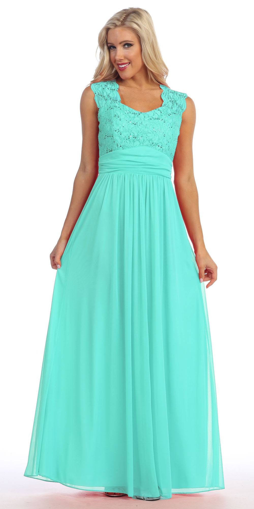 Mint Lace Bodice A-Line Long Semi Formal Dress Queen Anne Neckline