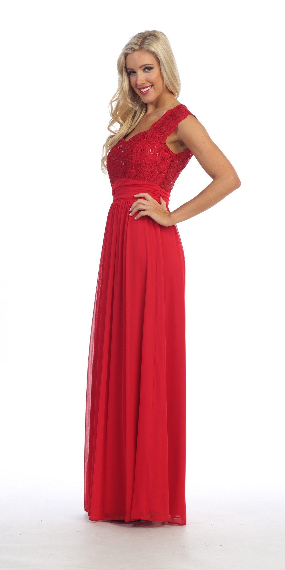 Red Lace Bodice A-Line Long Semi Formal Dress Queen Anne Neckline Side