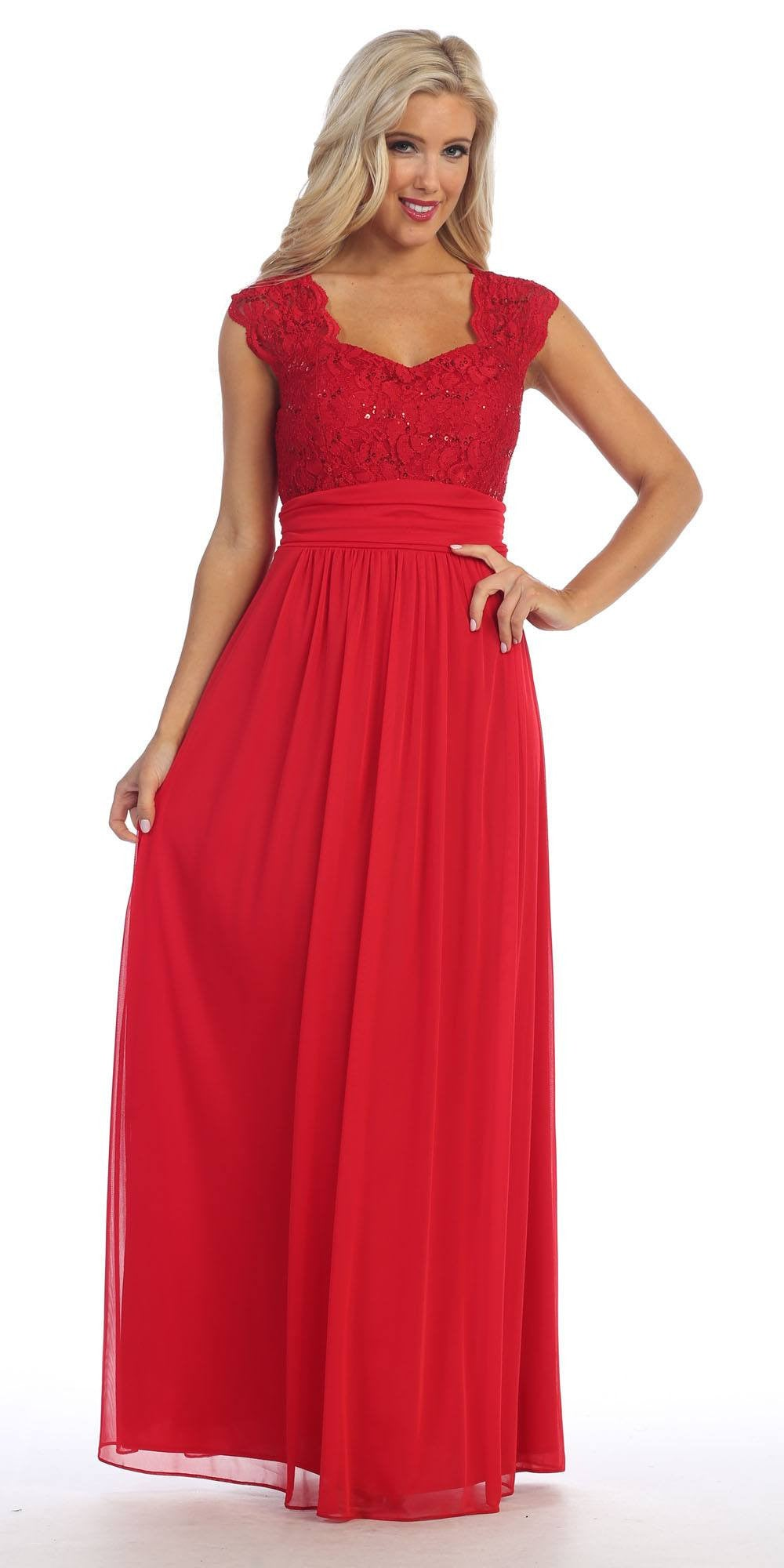 Red Lace Bodice A-Line Long Semi Formal Dress Queen Anne Neckline