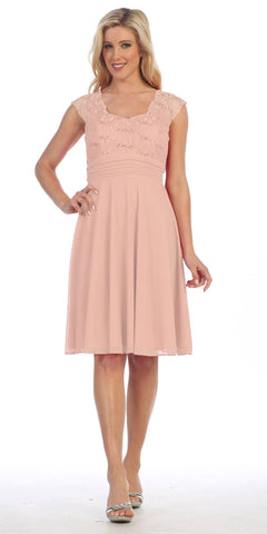 Blush Queen Anne Neckline Cap Sleeve Lace Bodice Knee Length Dress
