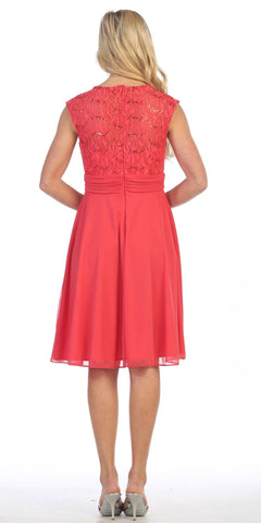 Coral Queen Anne Neckline Cap Sleeve Lace Bodice Knee Length Dress Back