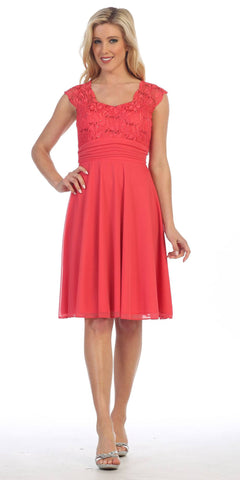 Coral Queen Anne Neckline Cap Sleeve Lace Bodice Knee Length Dress
