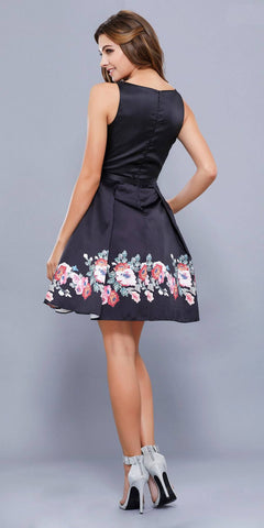 Sleeveless Floral Printed Short Prom Dress with Pockets Black