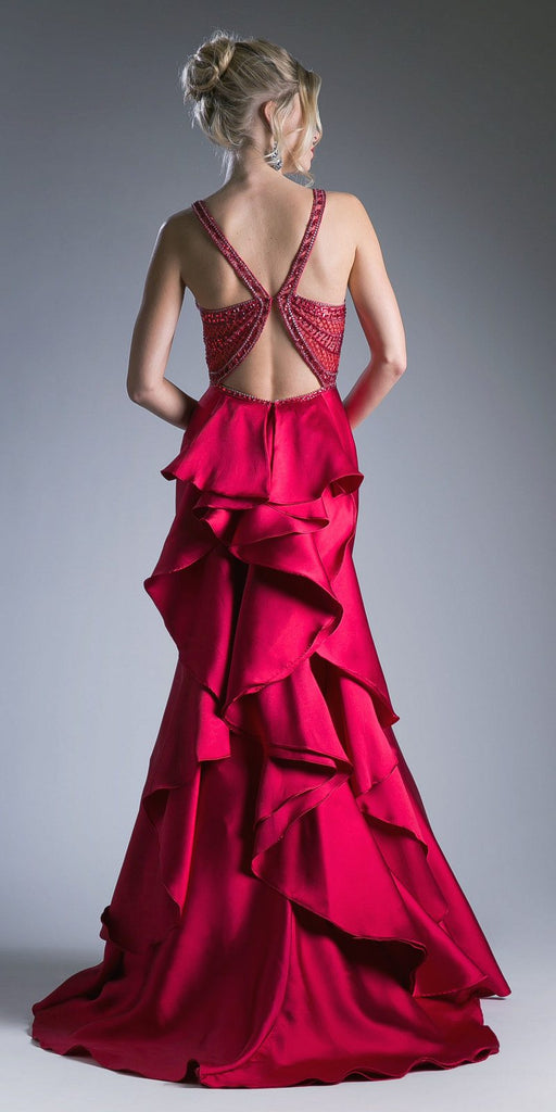 Cinderella Divine 62334 Red Cut-Out and Ruffled Back Mermaid Prom Gown Back View