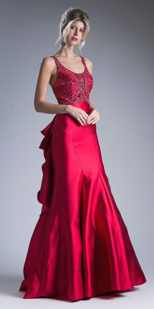 Cinderella Divine 62334 Red Cut-Out and Ruffled Back Mermaid Prom Gown