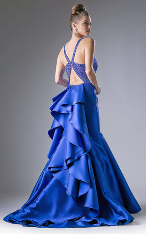 Cinderella Divine 62334 Royal Blue Cut-Out and Ruffled Back Mermaid Prom Gown Back View