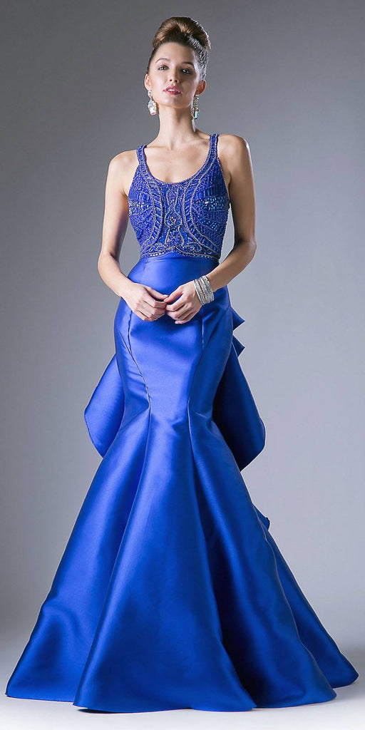 Cinderella Divine 62334 Royal Blue Cut-Out and Ruffled Back Mermaid Prom Gown