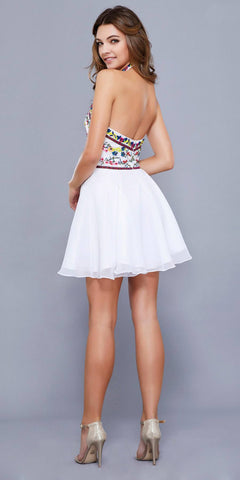 Floral Embroidered Top Short Halter Homecoming Dress White
