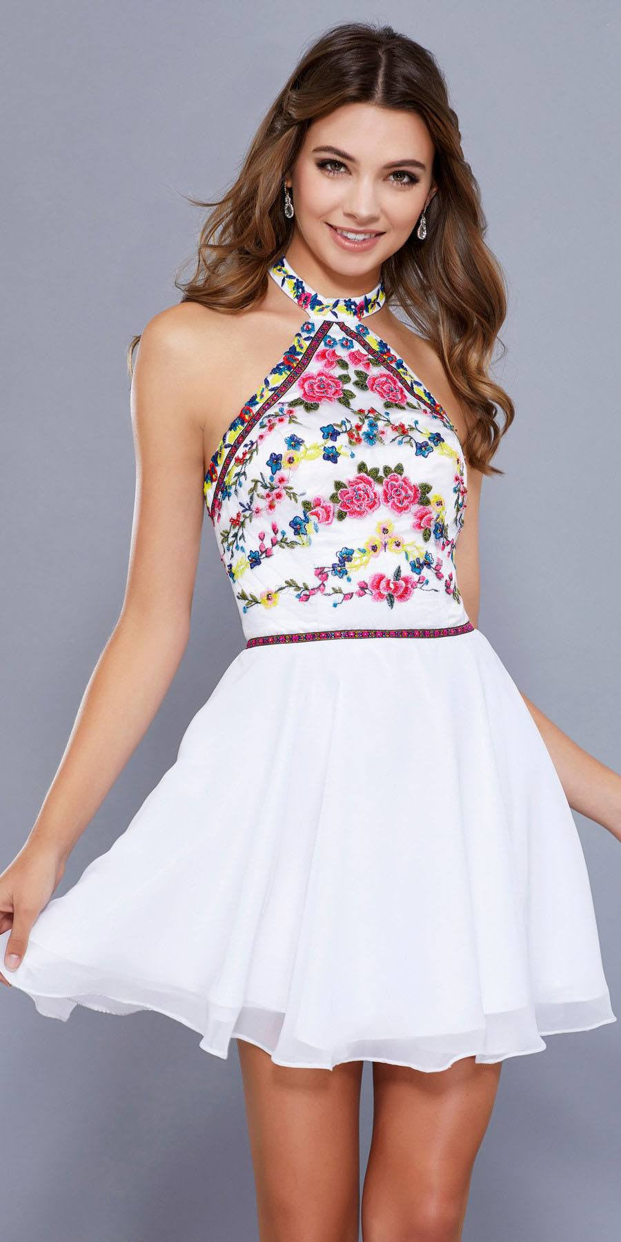 03efcd7858df Floral Embroidered Top Short Halter Homecoming Dress White. Tap to expand