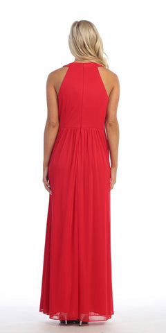 Red Empire Waist A-line Long Formal Dress Beaded Neckline and Waist