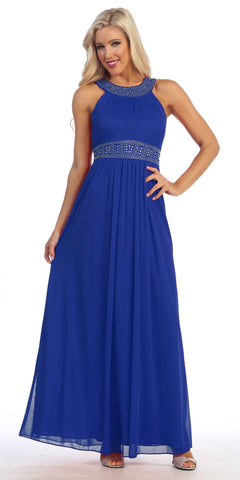 Royal Blue Empire Waist A-line Long Formal Dress Beaded Neckline and Waist