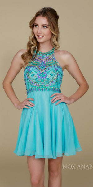 Beaded Top Round Neckline Halter Short Prom Dress Aqua Blue