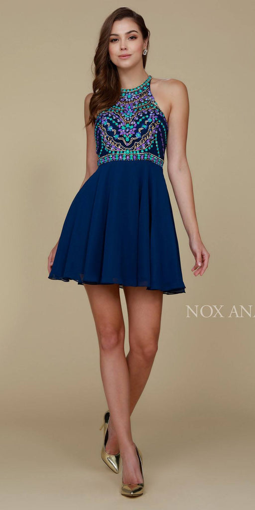 Beaded Top Round Neckline Halter Short Prom Dress Navy Blue