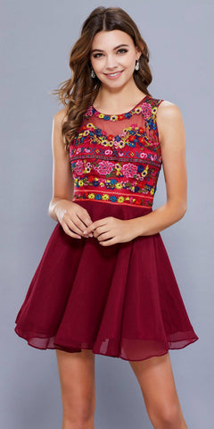 Beaded Cold-Shoulder Homecoming Short Dress Fuchsia