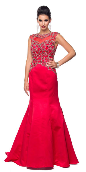 Juliet 624 Jeweled Bodice Mermaid Style Formal Gown Cut Out Back Red