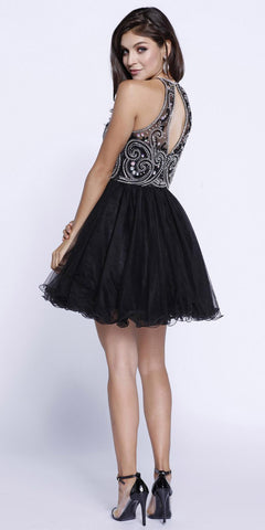 Beaded Top Poofy Short Homecoming Dress Keyhole Back Black