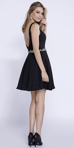 Deep V-Neckline Short Cocktail Dress -Line Embellished Waist Black