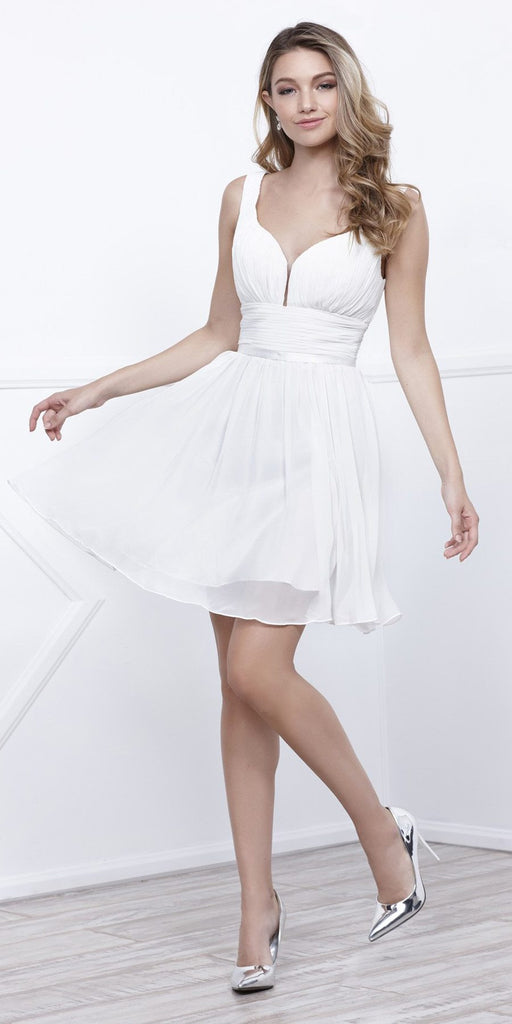 Ruched Sweetheart Neckline Short Cocktail Dress V-Shape Back Ivory