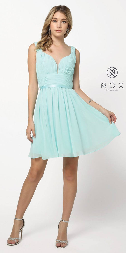 Ruched Sweetheart Neckline Short Cocktail Dress V-Shape Back Mint