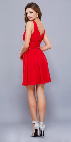 Ruched Sweetheart Neckline Short Cocktail Dress V-Shape Back Red