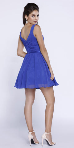 Ruched Sweetheart Neckline Short Cocktail Dress V-Shape Back Royal Blue