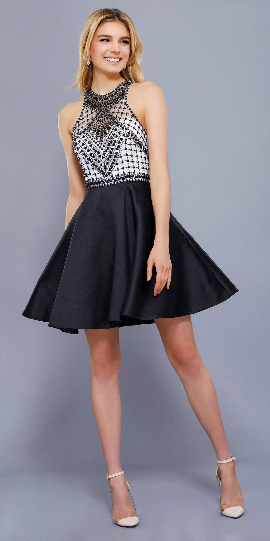 Illusion Beaded Top Halter Short Prom Dress A-Line Black