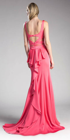 Deep-Coral Floor Length Prom Dress Ruffled Cut Out Back
