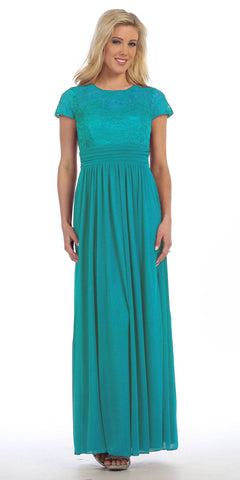 Lace Illusion Bodice Short Sleeves Long Formal Dress Emerald Green