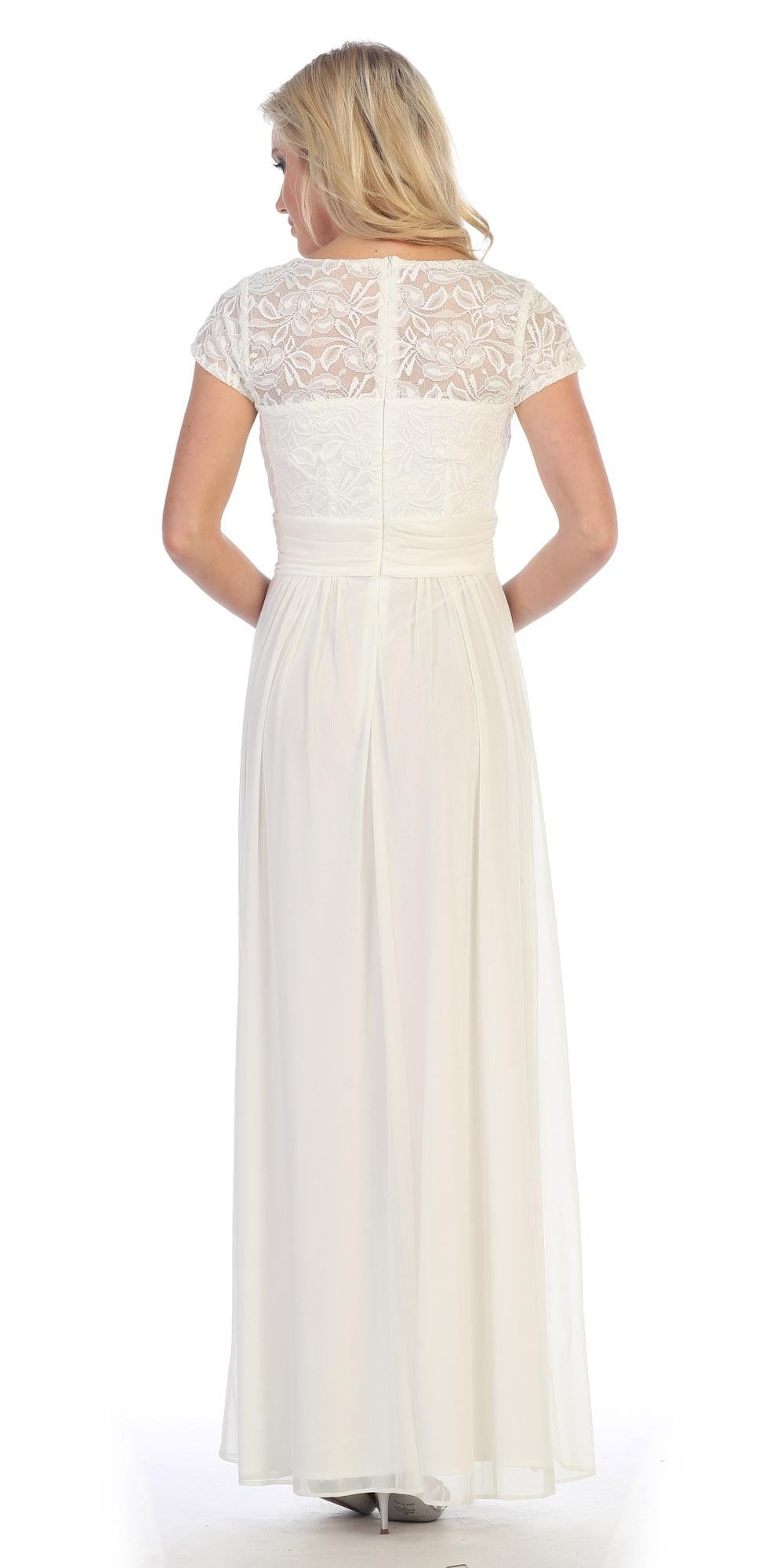Lace Illusion Bodice Short Sleeves Long Formal Dress Ivory Back