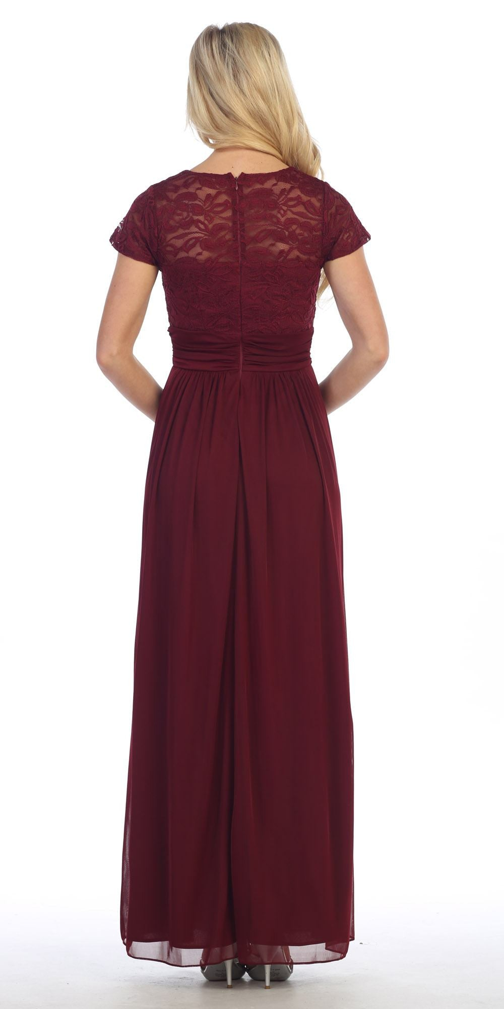 Lace Illusion Bodice Short Sleeves Long Formal Dress Burgundy Back