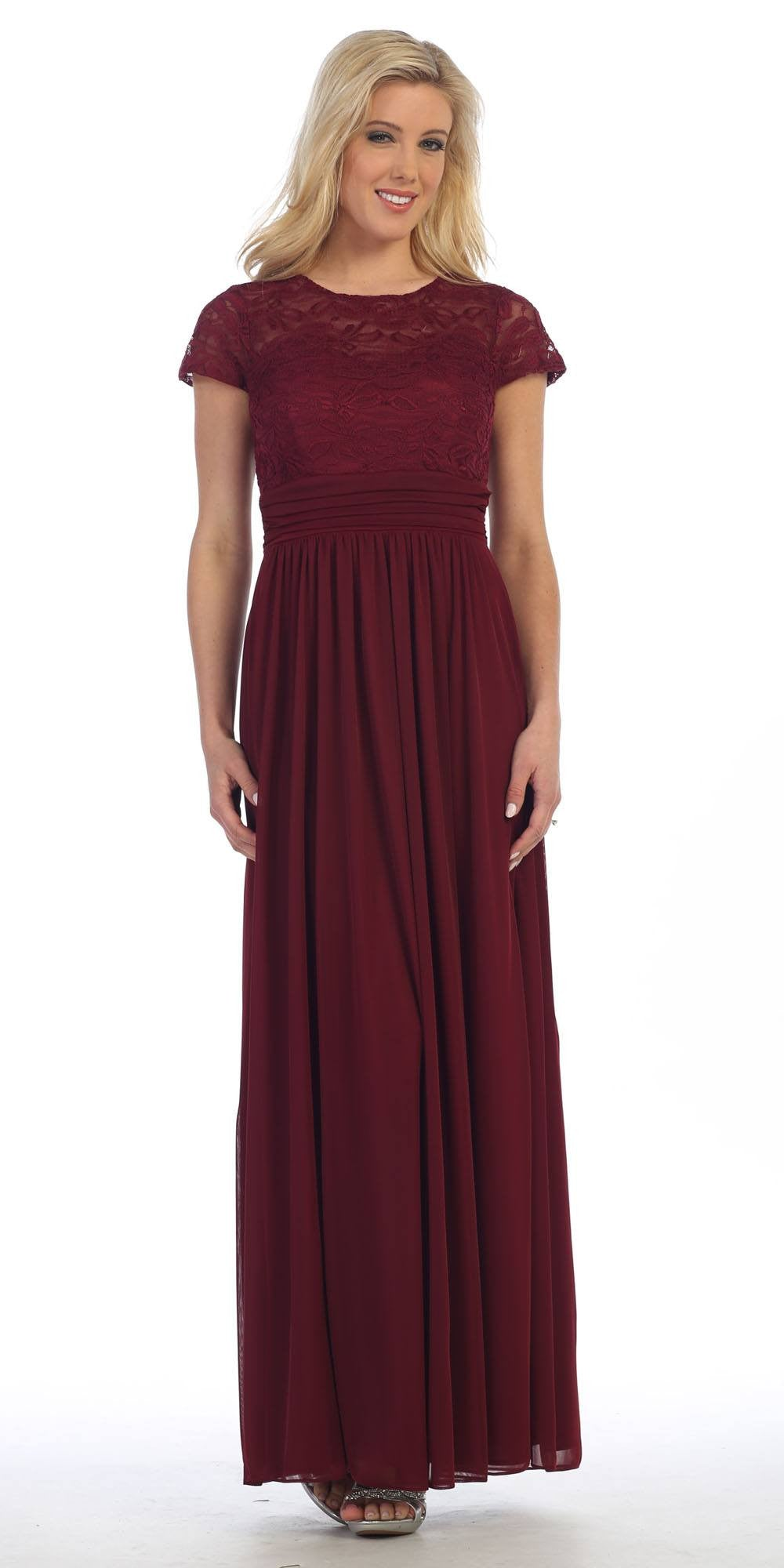 Lace Illusion Bodice Short Sleeves Long Formal Dress Burgundy