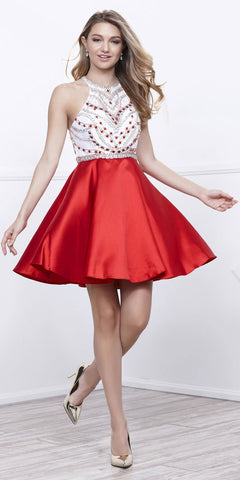 Red White Racer Back Embellished Top Halter Style Homecoming Dress