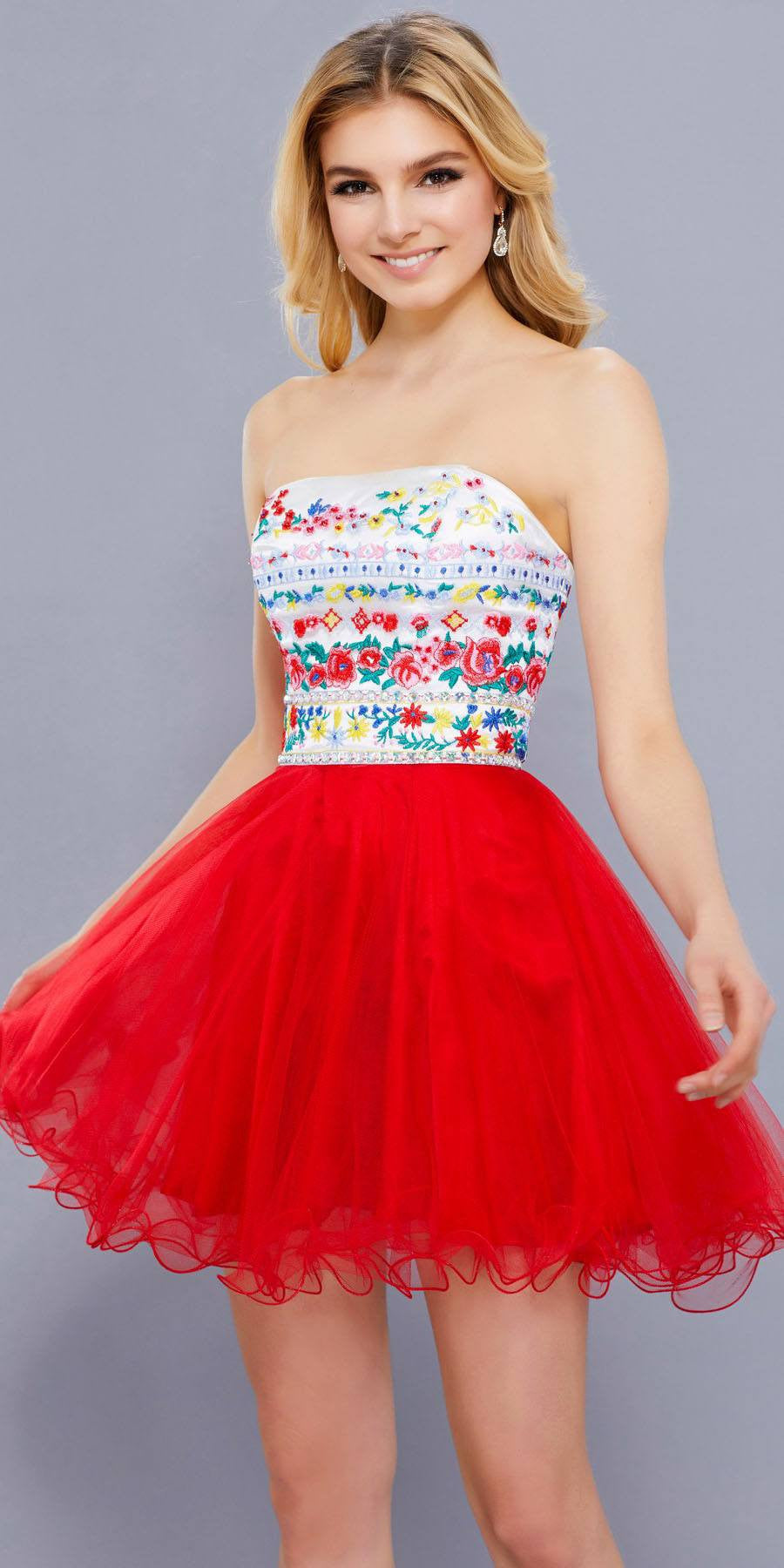 Floral Embroidered Top Strapless Short Prom Dress Red ... |Strapless Dress Top