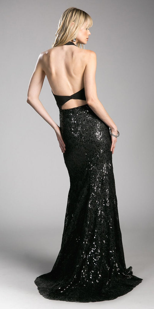 Halter Lace Up Bodice Sequins Prom Gown Open Back Black