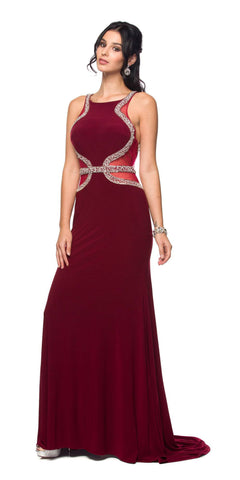 Juliet 625 Rhinestone Trimmed ITY Prom Dress Sheer Cut Out Wine