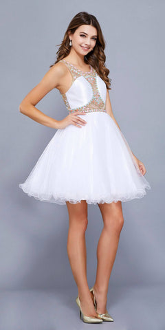 White Beaded Cut Out Bodice Short Prom Dress Scoop Neckline