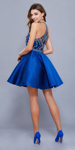 Navy Blue Short Homecoming Dress with Halter Beaded Top