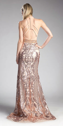 Champagne Sequins Long Prom Dress Deep V-Neckline