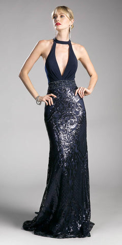 Navy Blue Sequins Long Prom Dress Deep V-Neckline