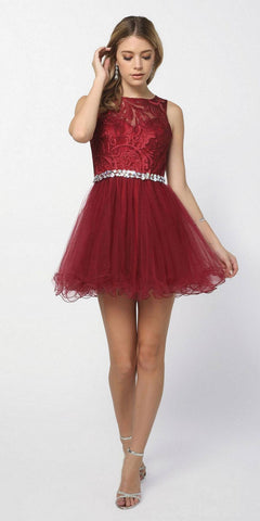 Flowy A-Line Chiffon Cap Sleeve Dress Burgundy Beaded Bodice