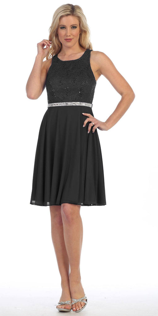 Celavie 6253 Scoop Neck Lace Top Knee-Length Cocktail Dress Black