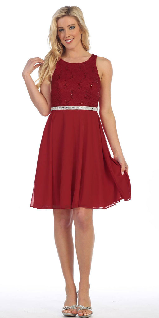 Celavie 6253 Scoop Neck Lace Top Knee-Length Cocktail Dress Burgundy