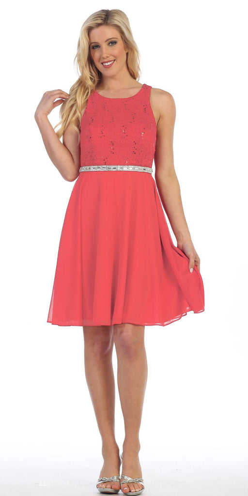Celavie 6253 Scoop Neck Lace Top Knee-Length Cocktail Dress Coral