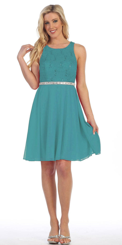 Celavie 6253 Scoop Neck Lace Top Knee-Length Cocktail Dress Kelly Green