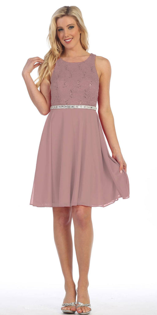 Celavie 6253 Scoop Neck Lace Top Knee-Length Cocktail Dress Mocha