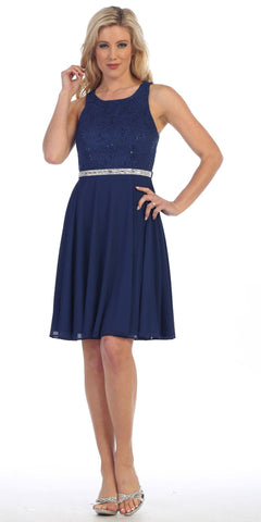 Celavie 6253 Scoop Neck Lace Top Knee-Length Cocktail Dress Navy