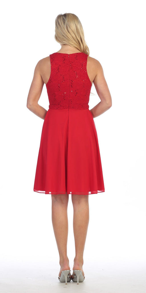 Celavie 6253 Scoop Neck Lace Top Knee-Length Cocktail Dress Red