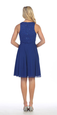 Celavie 6253 Scoop Neck Lace Top Knee-Length Cocktail Dress Royal Blue